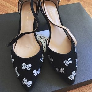 Anthropologie Black Ribbon Pattern Shoe Black